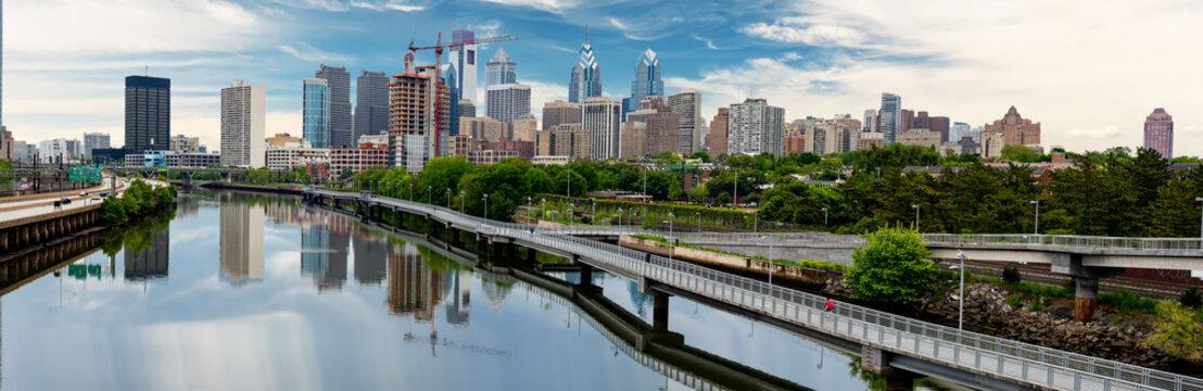 Philadelphia Pennsylvania skyline along the river with walking path