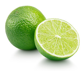 Whole green lime citrus fruit with lime half isolated on white background. Limes citrus fruit with clipping path