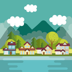 landscape with neighborhood and lake scene vector illustration design