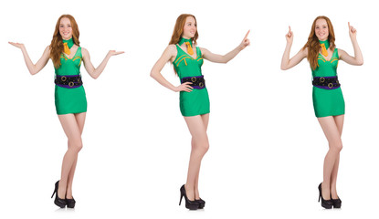 Young sexy girl in green dress isolated on white