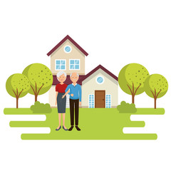 family members outside of the house vector illustration design