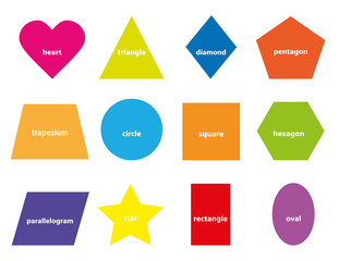 Learning set of basic geometric shapes for children / educational vectors illustration for kids on white background