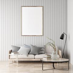 Mock up poster, Scandinavian room, your artwork here, 3d render, 3d illustration