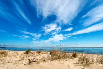 Seascape with dramatic blue sky and clouds Wall mural