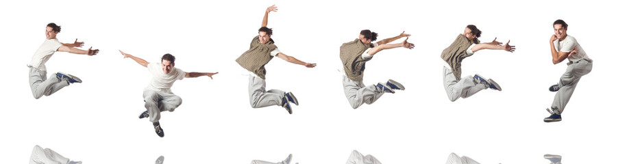 Man dancing isolated on the white