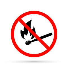 No open flame sign. No fire prohibition sign. Flat vector illustration, Match and flame