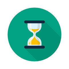 Hourglass Icon Flat Design Long Shadow. Vector Sand Clock Isolated Symbol