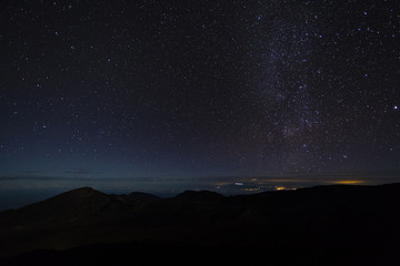 view of the stars and milky way galaxy from the summit of haleakala on the island of maui in hawaii in the pacific ocean taken from the summit of haleakaka