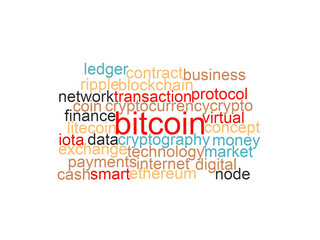 "Word cloud of bitcoin, cryptocurrency, virtual money and transactions isolated. The word ""bitcoin"" emphasized"