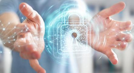 Businessman using digital padlock with data protection 3D rendering