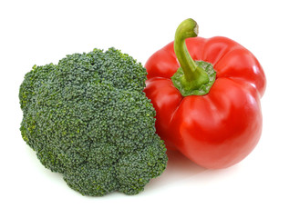 red pepper and broccoli on white background