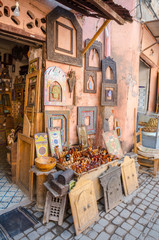 Street of Marrakesh market with traditional souvenirs, Morocco