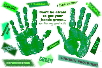 Pair of Green Hand with Ecological Statements for the Environment