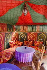 Traditional interior of cafe in Marrakesh, Morocco