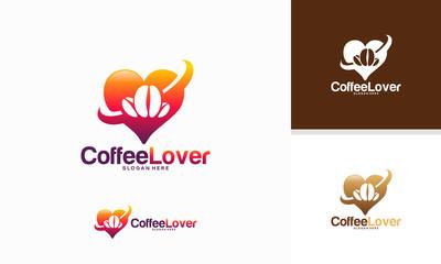 Coffee Lover logo designs concept vector, Coffee Bean logo template vector