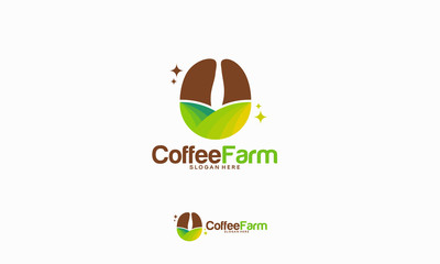 Coffee Farm logo designs concept, Nature Coffee logo template vector illustration