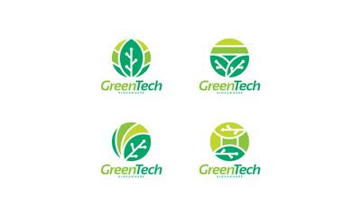 Set of Circle Green Tech Logo designs concept vector, Nature Technology logo template designs vector