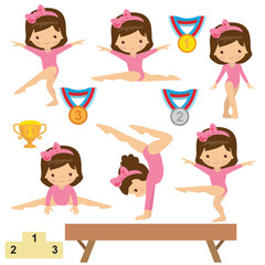 Gymnastics girl vector cartoon illustration
