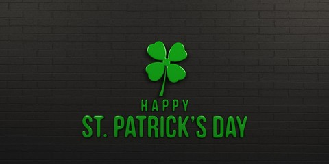 St Patricks Day Black Brick Wall. 3D Render Illustration