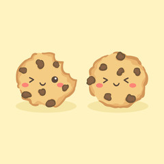Cute Choco Chip Cookies Vector Illustration Cartoon Character Icon
