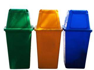 Garbage bins , green, yellow, blue colors.