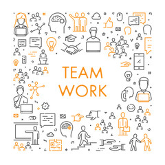 Vector linear creative web banner for teamwork