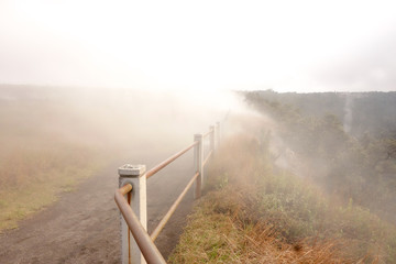 Scenic view of steam gas vents along the trail in Hawaii Volcanoes National Park, Big Island, Hawaii