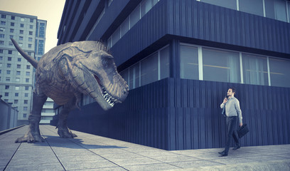 Businessman walking in town and a dinosaur Wall mural