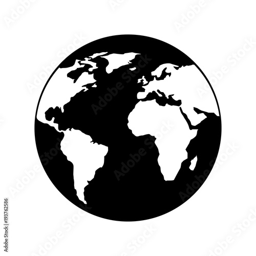 Globe world earth planet map icon vector illustration black and globe world earth planet map icon vector illustration black and white design gumiabroncs Image collections