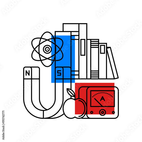 Colorful illustration about physics in modern outline style  College