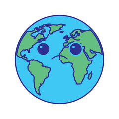 cartoon earth globe planet sad character vector illustration blue green design