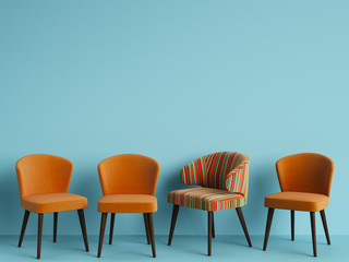 A chair with pattern colorful stripes among simple orange chairs on blue backgrond with copy space.Concept of minimalism. Digital illustration.3d rendering mock up