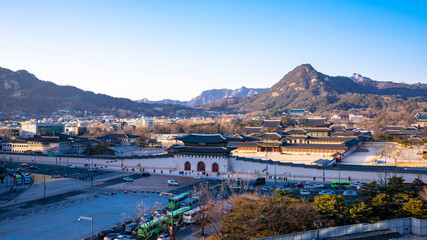 Aerial photograph of Gwanghwamun gate  and Gyeongbokgung palace. Seoul, South Korea