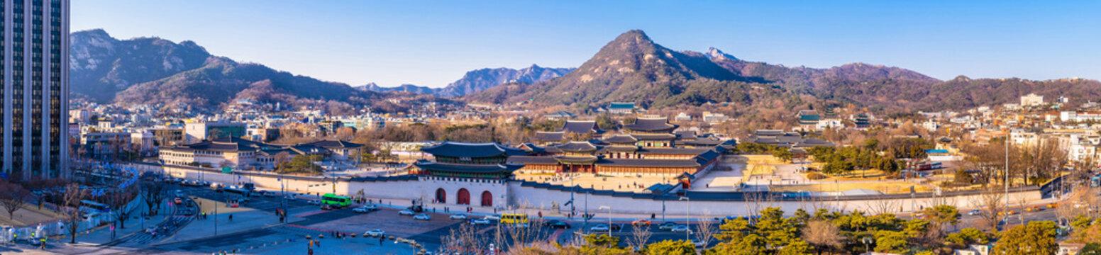 Aerial panorama of Gwanghwamun gate  and Gyeongbokgung palace. Seoul, South Korea