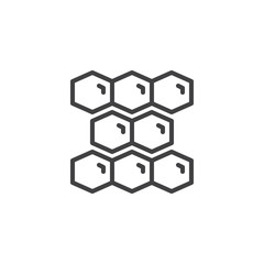 Honeycomb outline icon. linear style sign for mobile concept and web design. Beekeeping simple line vector icon. Apiculture symbol, logo illustration.