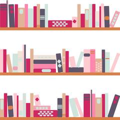 vector illustration of bookshelves with retro style books