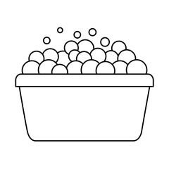 bucket foam bubbles clean equipment vector illustration outline image