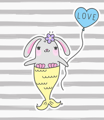 Cute cartoon rabbit mermaid. Funny bunny mermaid. Vector doodle illustration.