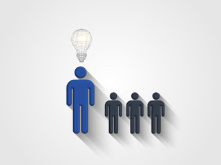 Wireframe lightbulb above human head model represents concept of engineering and innovation. Concept of thinking out of the box. Design thinking. Technology Background. Vector illustration.