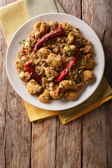 Indian food: Chettinad chicken curry with chili pepper closeup. Vertical top view