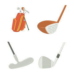 Golf stick icon set, cartoon style