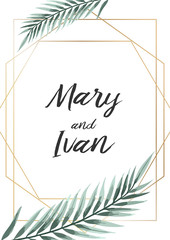 Wedding Invitation, leaves invite card. Design with tropical palm tree leaves.