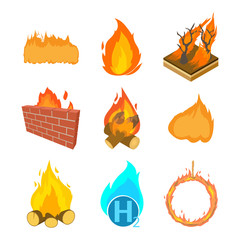 Fire icon set, cartoon style