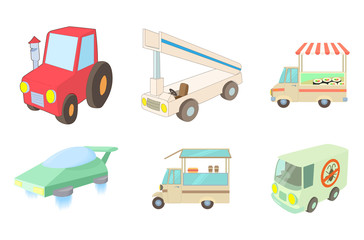 Special vehicle icon set, cartoon style