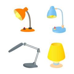 Desktop lamp icon set, cartoon style