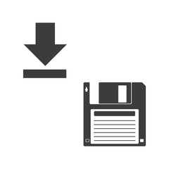 Floppy disk icon. Flat black vector illustration on white background.