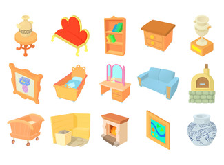 Furniture icon set, cartoon style