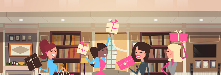 Happy Girls With Gift Boxes At Home Celebrating International Woman Day 8 March Holiday Horizontal Banner Flat Vector Illustration