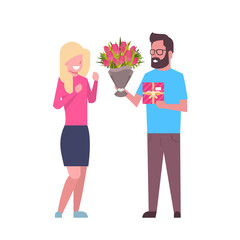 Man Present Girl Gift And Flowers For International Women Day 8 March Holiday Couple Isolated On White Background Flat Vector Illustration