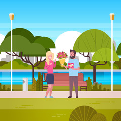 Man Give Girl Gift And Bouquet Over Green Park Background Congradulations For International Women Day 8 March Holiday Flat Vector Illustration